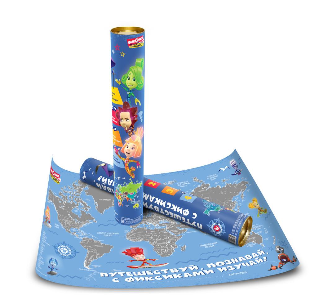 Скретч карта мира Фиксики для детей с загадками и прикольными стикерами и подробной территорией России #1