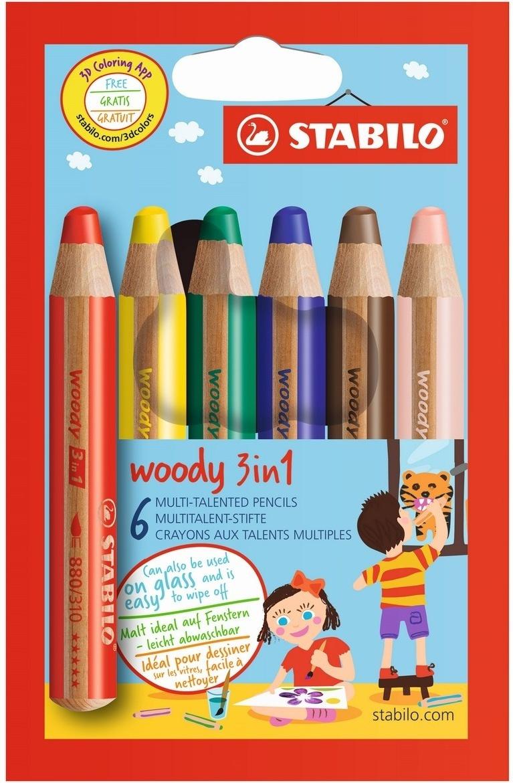 Набор STABILO Woody 3 в 1: карандаш + акварель + восковой мелок, утолщенные, 6 цветов  #1