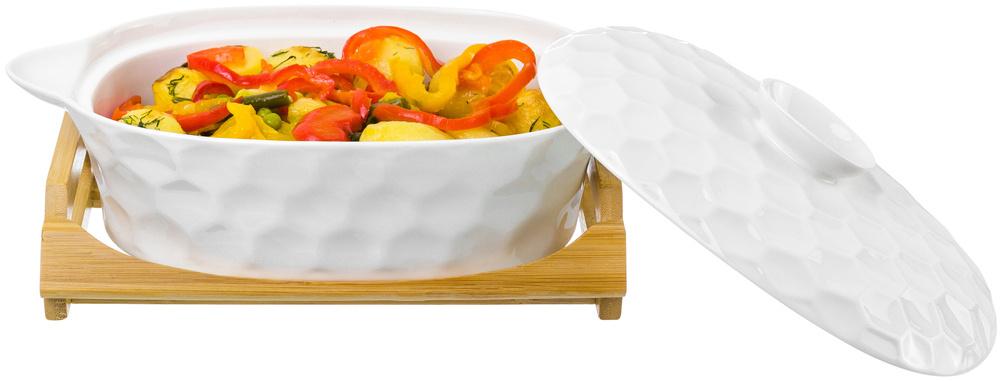 Блюдо для запекания и сервировки 29,5х17х12 см 1,3 л Elan Gallery Соты с крышкой на деревянной подставке #1
