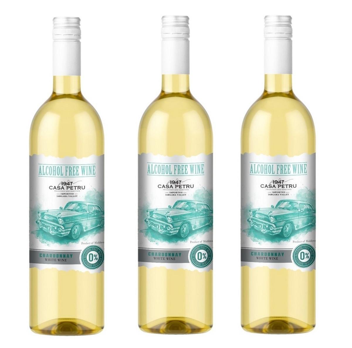 """Вино безалкогольное Casa Petru (Каса Петру) Шардоне"""" 0,75 белое сладкое, набор из 3-х штук, Молдавия #1"""