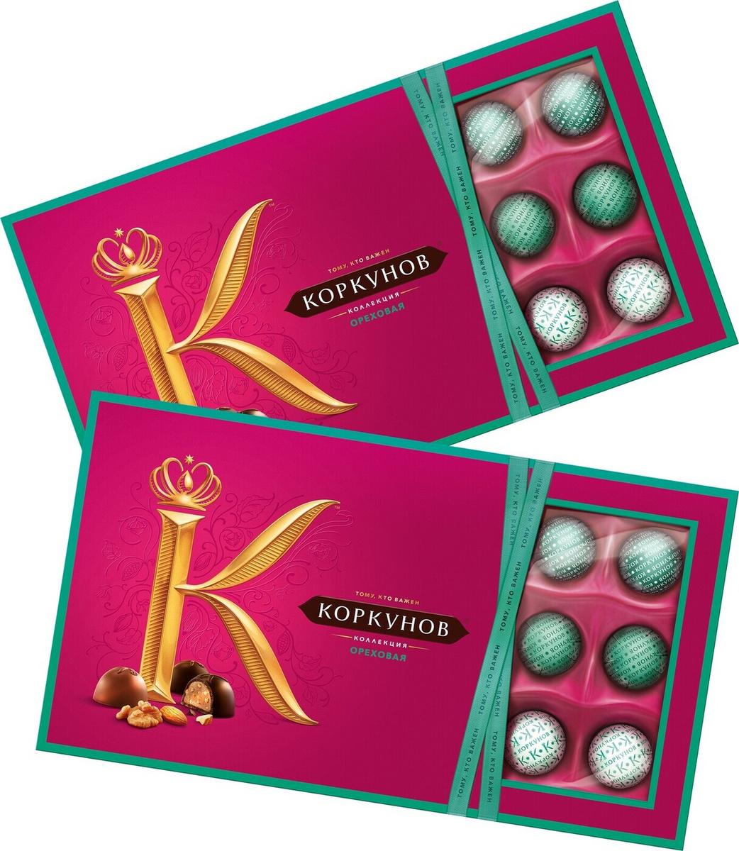 Конфеты в коробке А.Коркунов Ореховая коллекция, шоколадные, 2 шт. по 192 г  #1