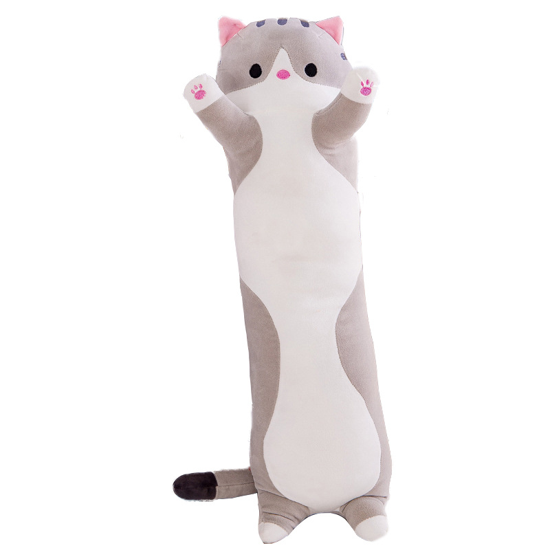 Мягкая игрушка-подушка Длинный Кот Серый 90 см #1