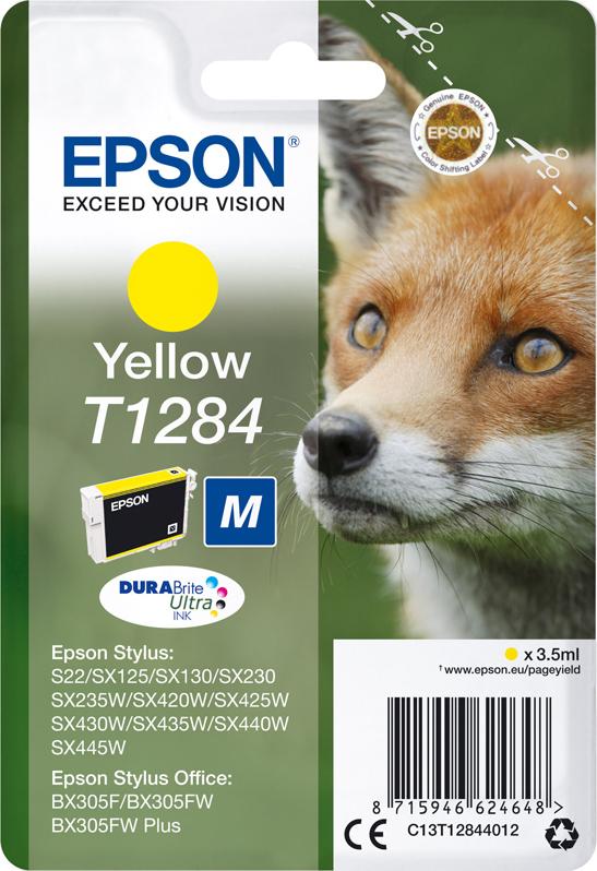 Картридж Epson для Stylus S22/SX130/SX/230/SX420W/SX425W/BX305F, C13T12844012 , желтый цена 2017