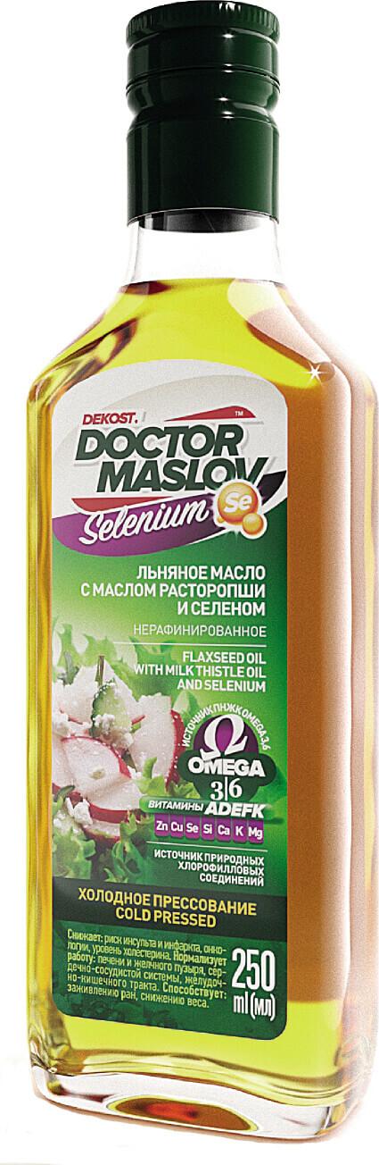 Льняное масло с маслом расторопши и селеном Doctor Maslov. Selenium, купажированное, нерафинированное, холодного отжима, 250 мл, стекло