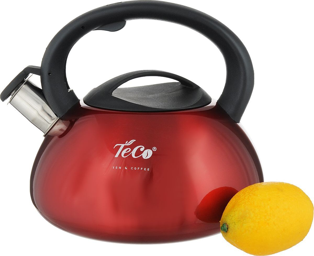 Чайник TECO, 3,0 л, со свистком, нержавеющая сталь, пластиковая ручка и крышка