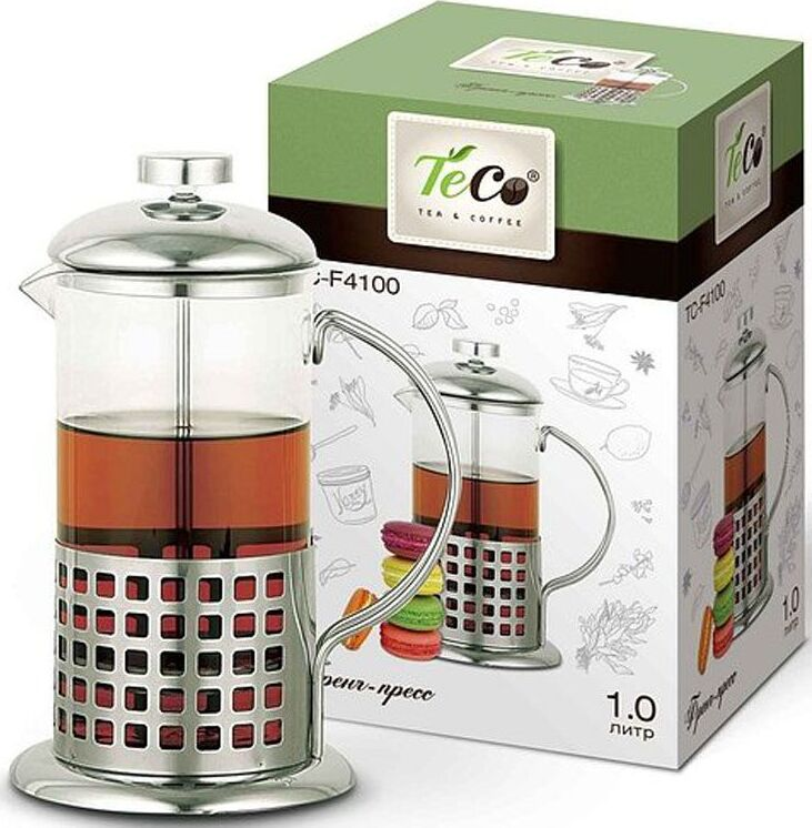 Френч-пресс TECO 1л из высококачественного термостойкого стекла