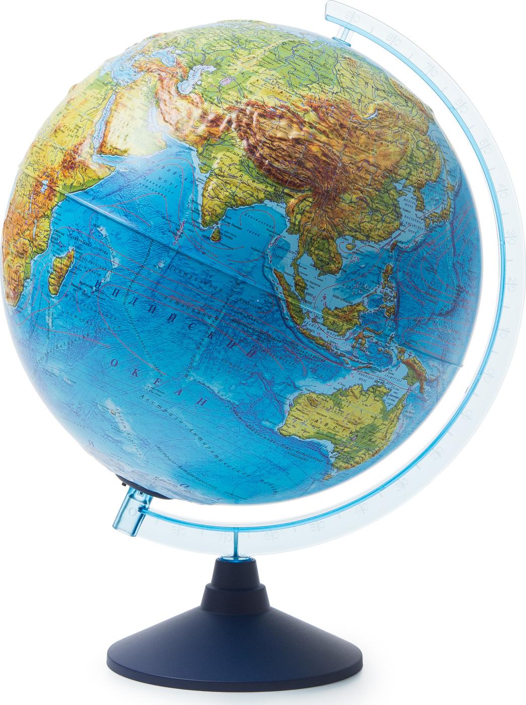 Глобус Земли Globen физико-политический рельефный, с подсветкой от батареек, диаметр 32 см.
