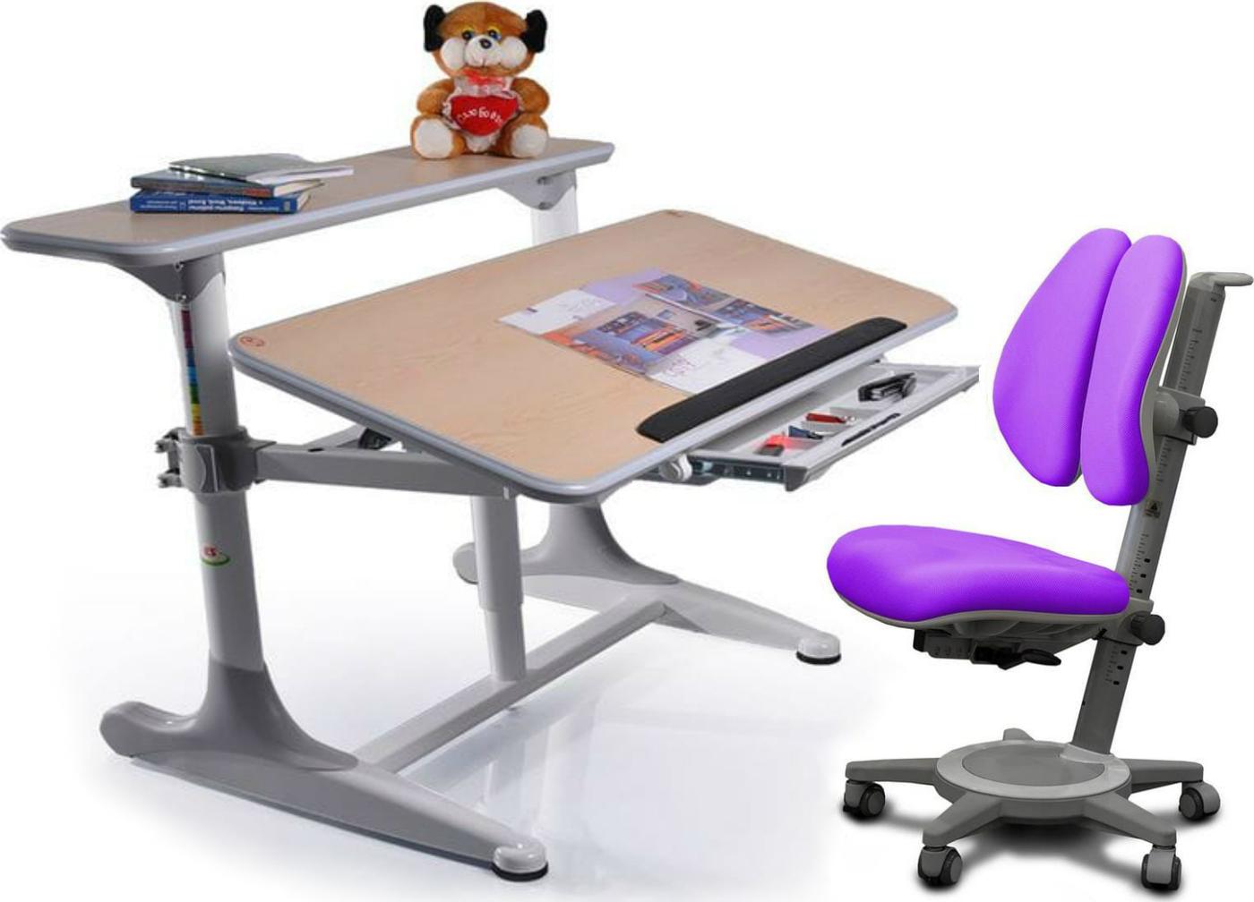 Комплект Mealux Стол Shubert с креслом Cambridge Duo и прозрачной накладкой на парту 65х45