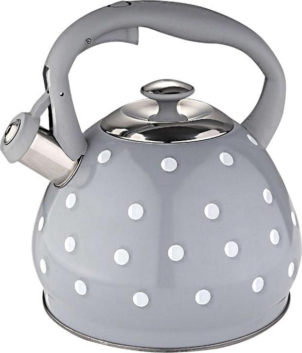 Чайник Alpenkok со свистком 3 литра серый, серая ручка