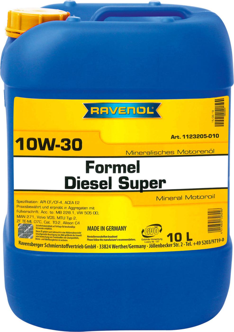 Моторное масло RAVENOL Formel Diesel Super SAE 10W-30 (10л) new