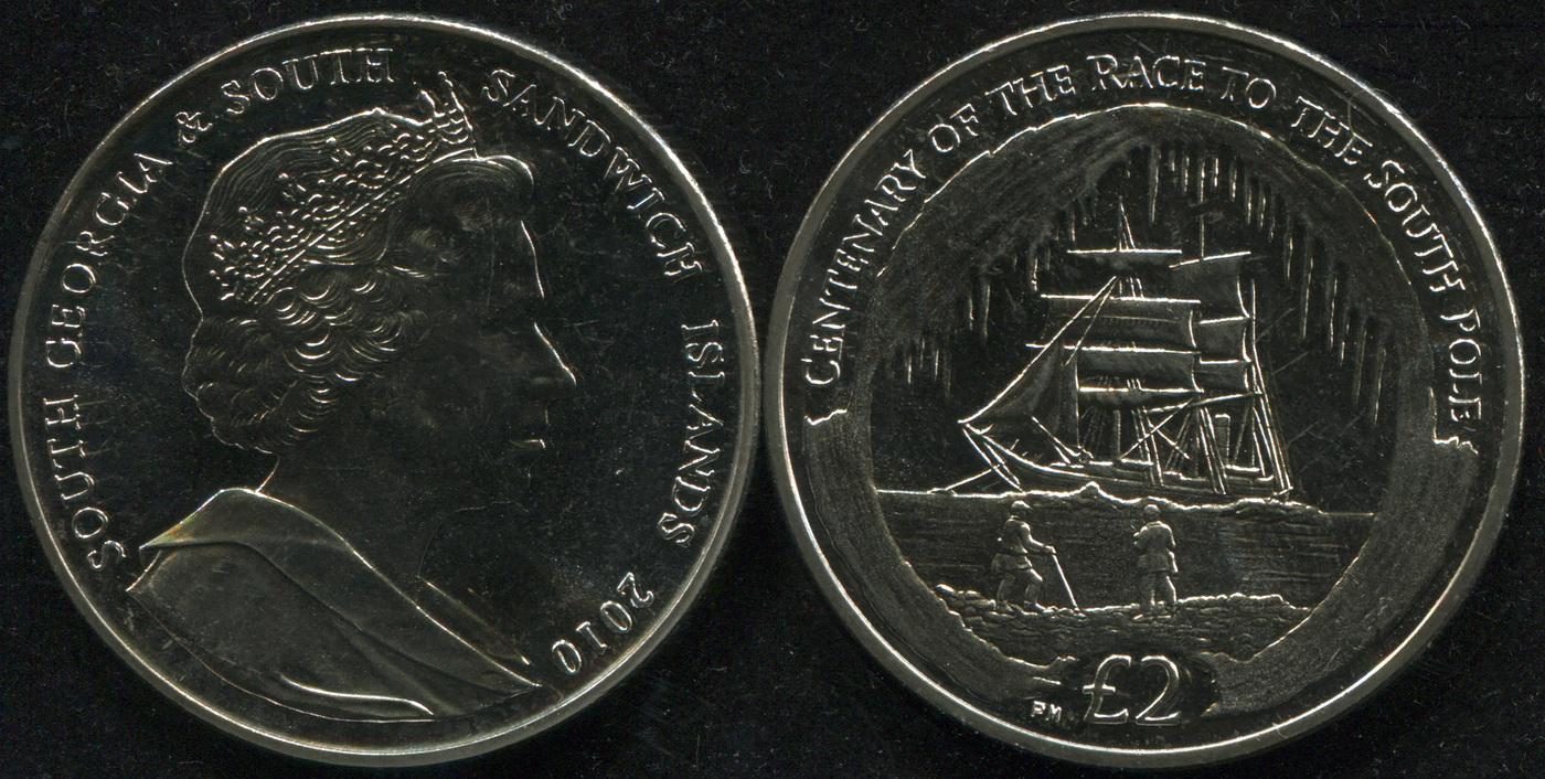 Монета. Южная Георгия и Южные Сандвичевы о-ва 2 фунта. 2010 (KM.50. Unc) 100 лет экспедиции к Южному полюсу