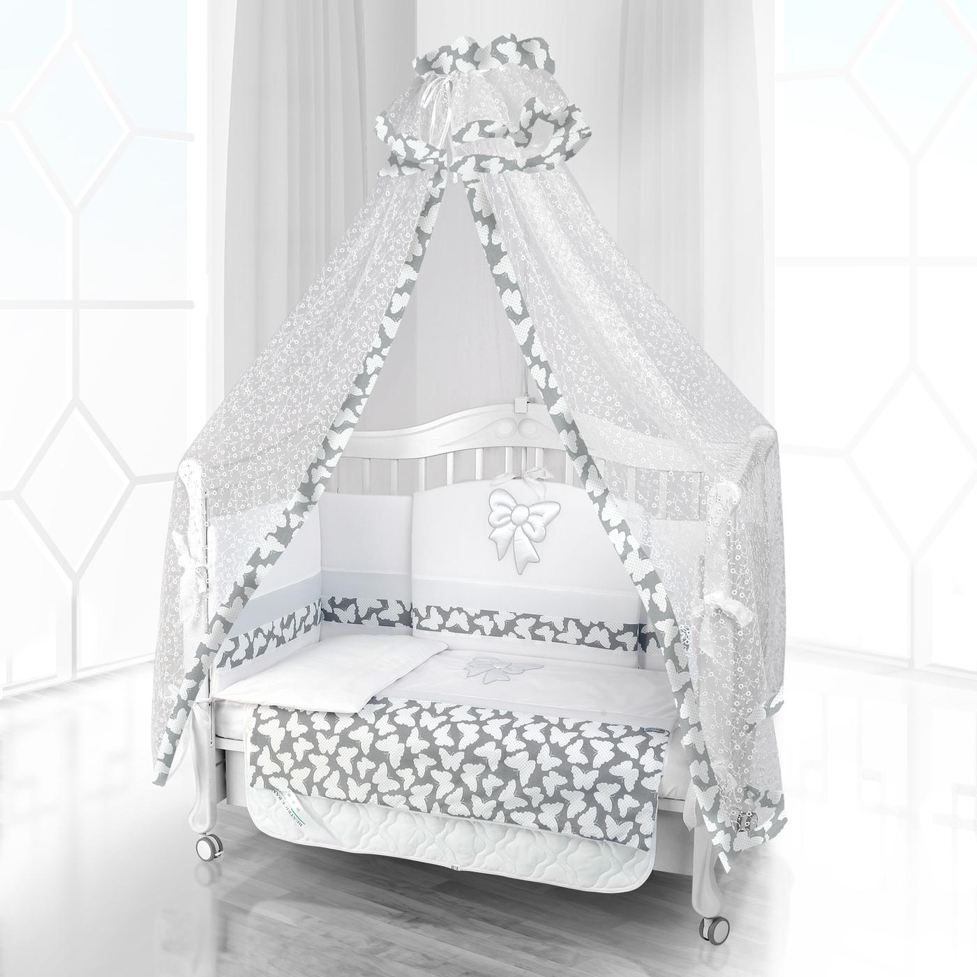 Комплект постельного белья Beatrice Bambini Unico Farfalino (120х60) - bianco& grigio