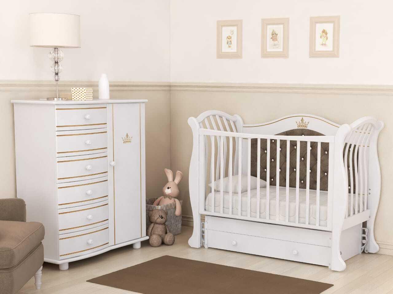 Кровать детская Гандылян Габриэлла Люкс Плюс  маятник универсальный  (белый)