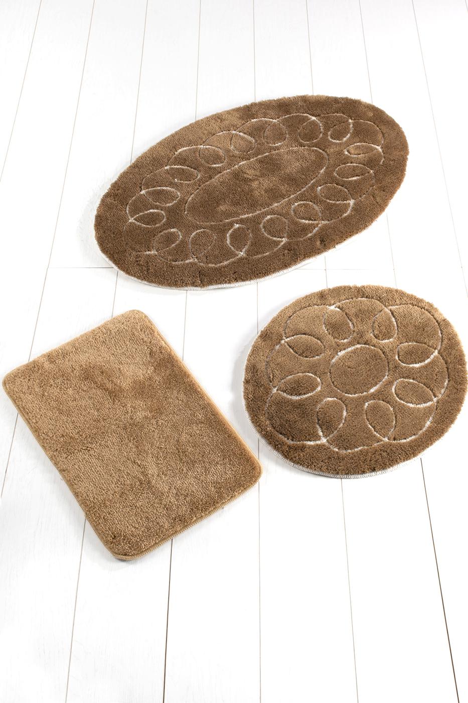 Набор противоскользящих ковриков для ванной Buffer, Safir Kahve 3'Lu Set 60x100 см - 50x60 см - 40x60 см