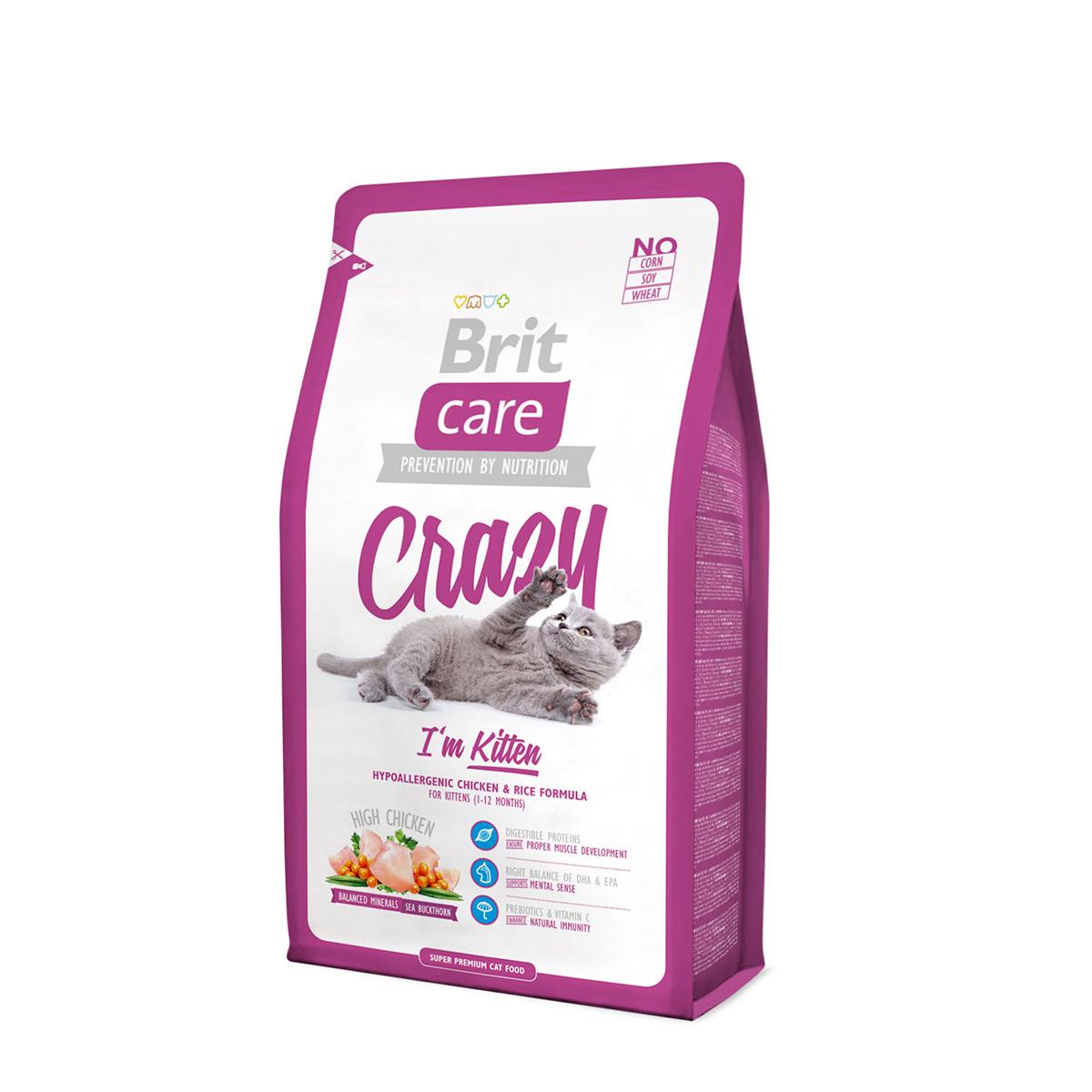 Сухой корм Brit Care Cat Crazy Kitten для котят, беременных и кормящих кошек, 2 кг