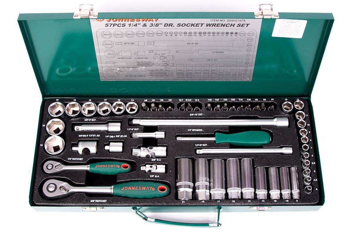 """Jonnesway S04H3157S Набор инструмента, головки торцевые 1/4"""" и 3/8""""DR 4-24 мм., с аксессуарами, 57 предметов"""