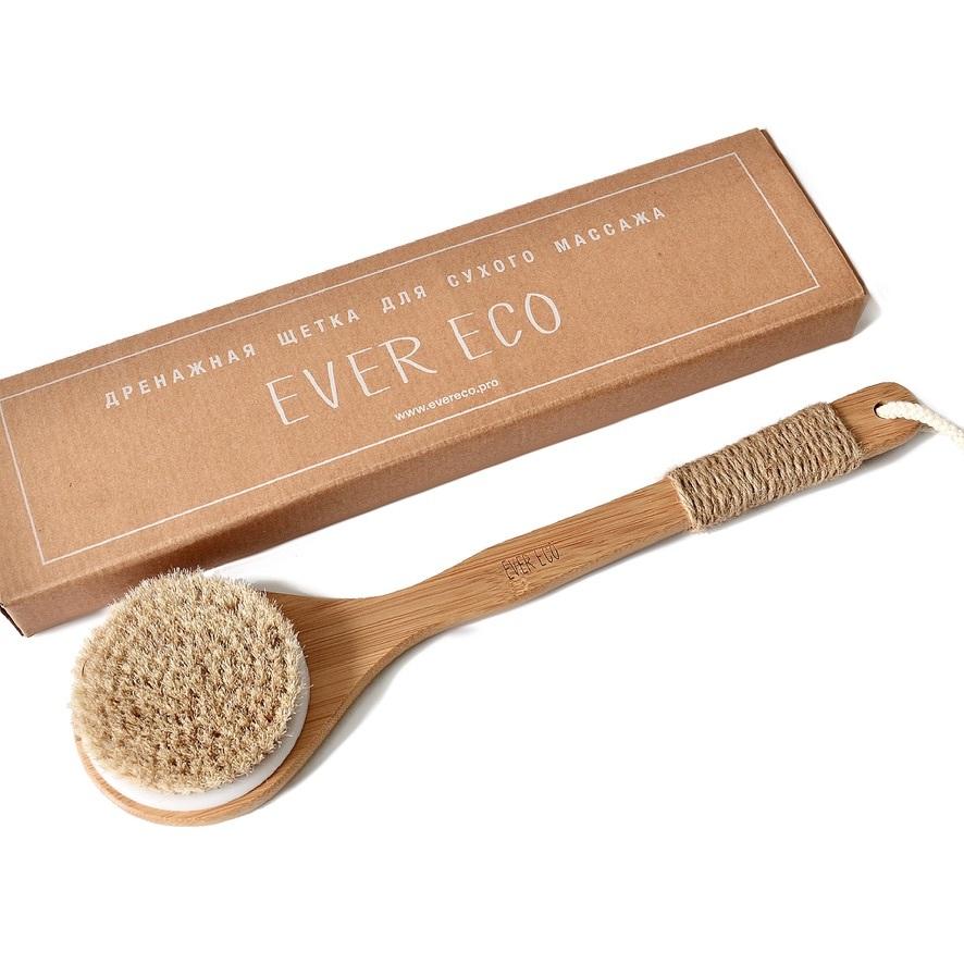 Ever Eco Дренажная щетка для сухого массажа, Россия, бамбук и конская щетина