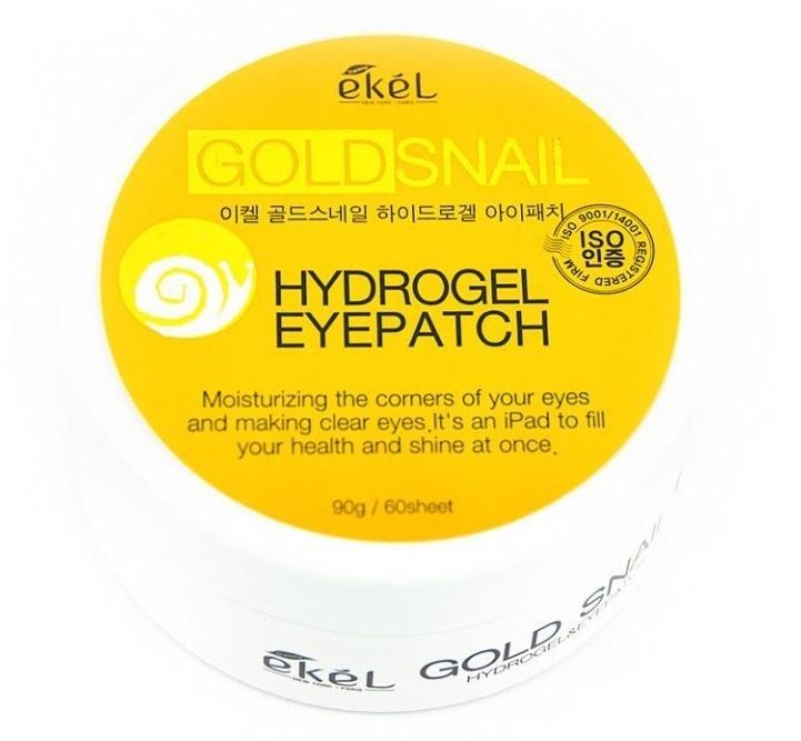 EKEL Гидрогелевые патчи под глаза с муцином улитки и коллоидным золотом Gold Snail Hydrogel Eyepatch, 60 шт. Корея