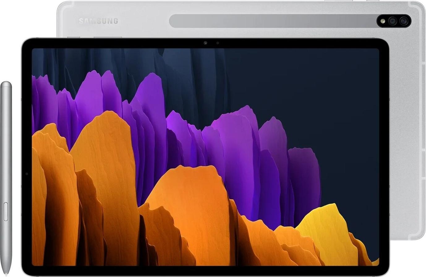 "планшет samsung galaxy tab s7+ lte, 12.4"", 128gb, серебристый"