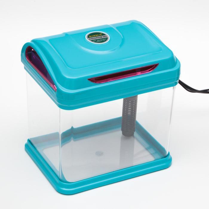 Мини-аквариум BARBUS с фильтром и подсветкой LED, синий 4л