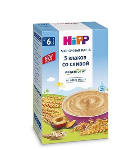 Каша для детей Hipp 5 злаков, молочная, со сливой, с 6 месяцев, 250 г х 2 шт  #1
