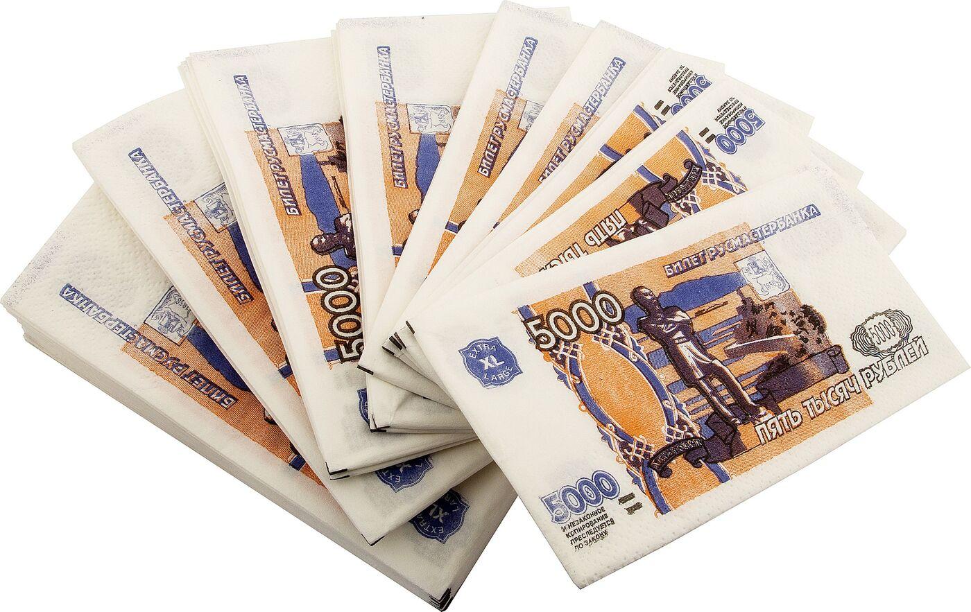 Салфетки Пачка 5000 руб бумага для заметок эврика пачка 1000 рублей 90 листов