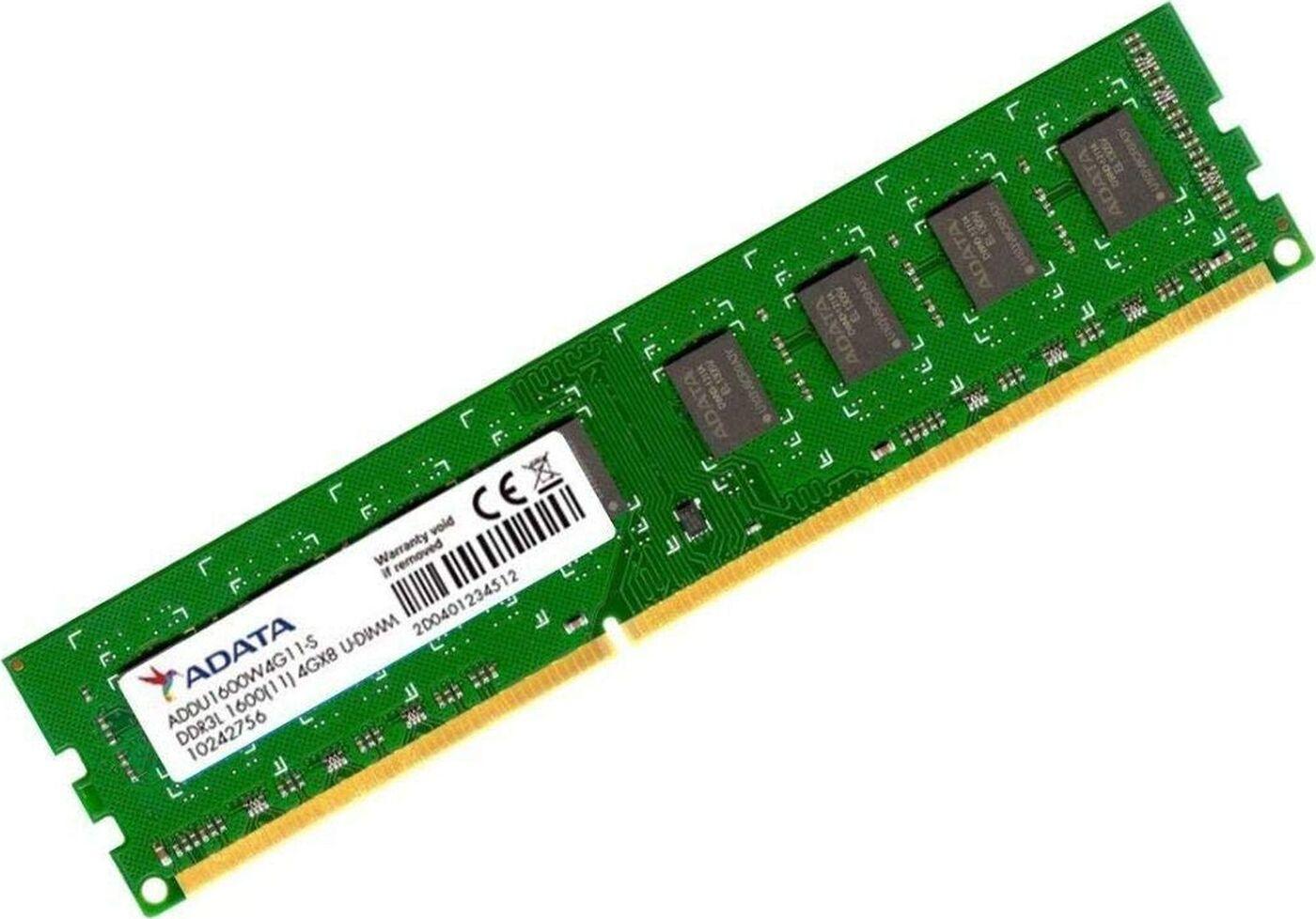 Оперативная память ADATA 4GB DDR3L 1600 DIMM ADDU1600W4G11-S Non-ECC, CL11, 1.35V, 512x8