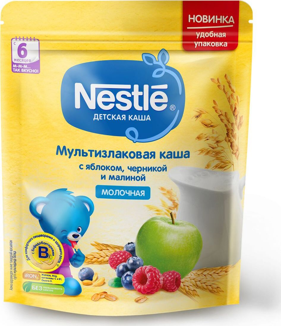 Каша для детей Nestle, молочная, мультизлаковая, с яблоком, черникой и малиной, 6 месяцев, 220 г