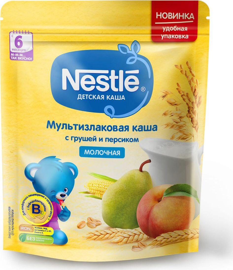Каша для детей Nestle, молочная, мультизлаковая, с грушей и персиком, 6 месяцев, 220 г