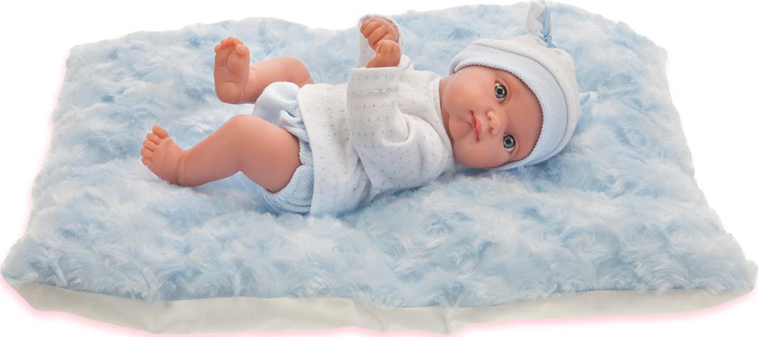 Кукла Пепито мальчик, на голубом одеялке, 21 см