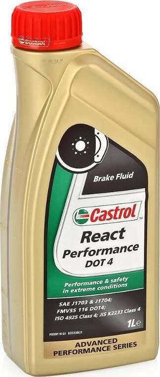 Фото - Жидкость тормозная CASTROL React Performance DOT 4 157F8B 1л. тормозная жидкость rosdot тс dot 4 430140001 455 г