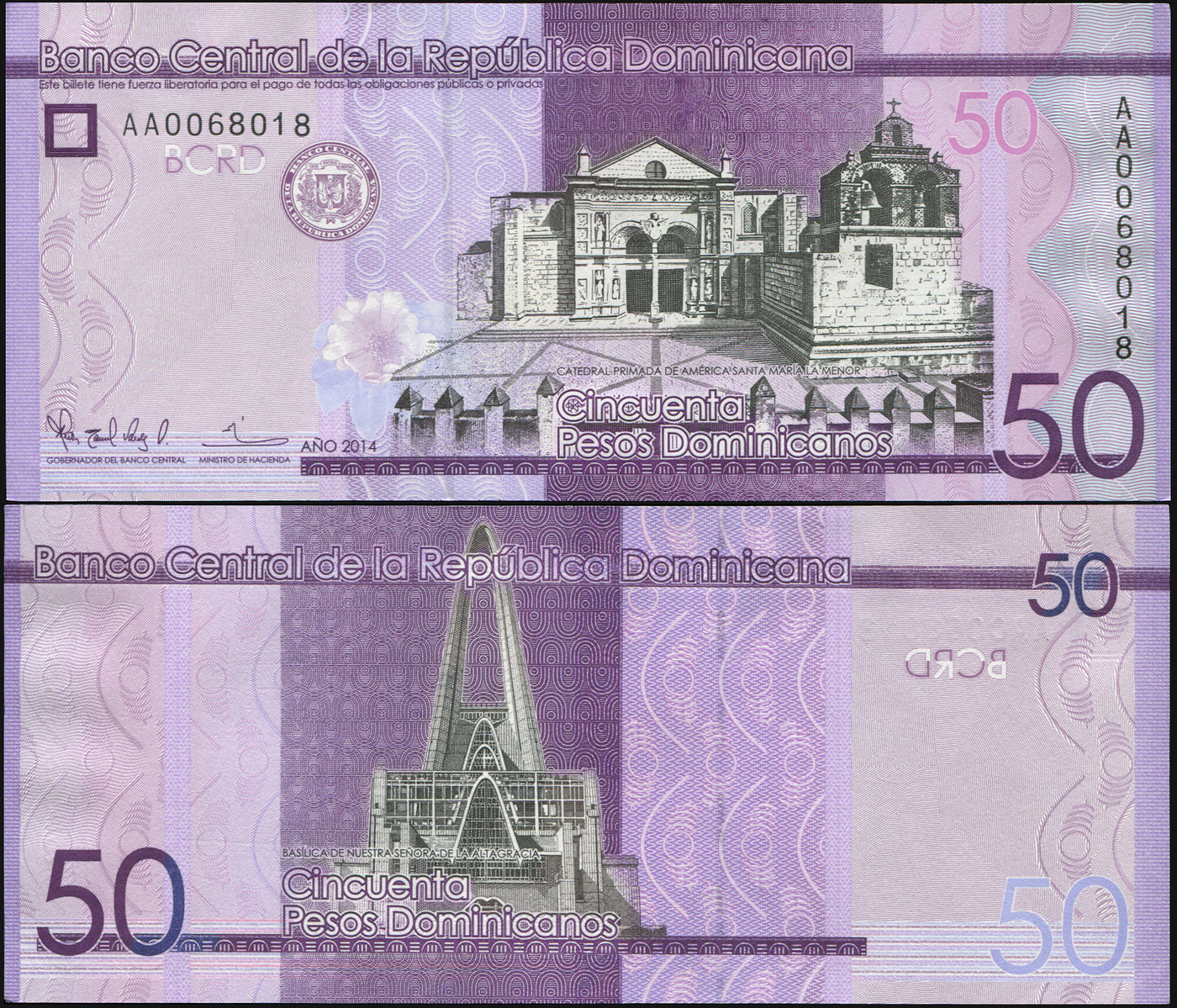 Банкнота. Доминиканская республика 50 песо доминикано. 2014 UNC. Кат.P.189a