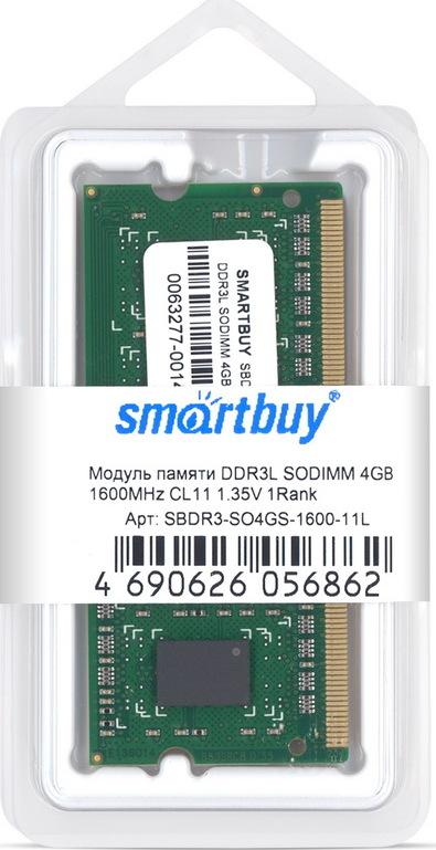 Оперативная память 4GB  Smart Buy, DDR3, SO-DIMM, 1600 MHz, 12800 MB/s, CL11, 1.35 В
