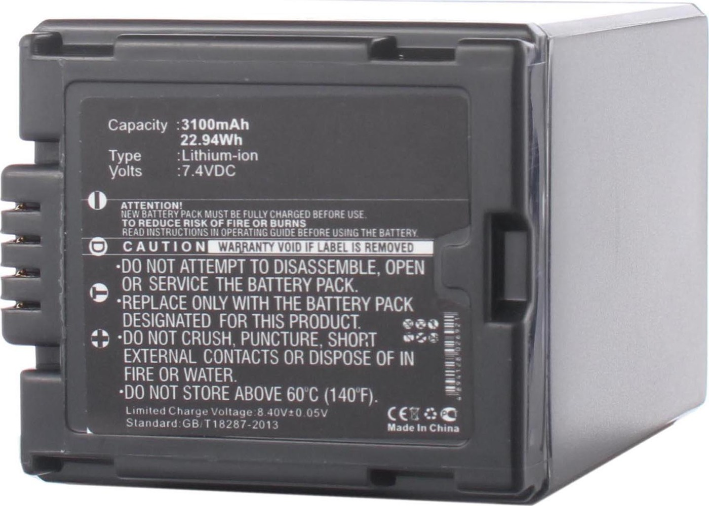 Аккумуляторная батарея iBatt iB-T1-F361 3100mAh для камер Hitachi DZ-MV350E, DZ-MV730E, DZ-BD70, DZ-GX3100E, DZ-MV380, DZ-BD7H, DZ-MV750E,  для Panasonic NV-GS27, NV-GS300, NV-GS400, NV-GS500, NV-GS35, SDR-H280, NV-GS6, SDR-H20, NV-GS230, NV-GS180,
