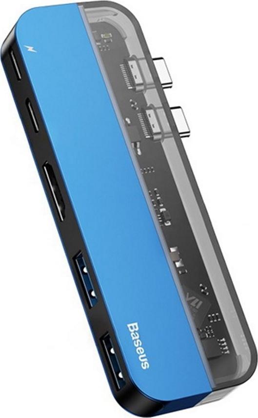 Хаб Baseus Transparent Series Dual Type-C Multifunctional HUB Adapter (Type-C to Type-C*2+USB3.0*2+4K HD*1) Blue
