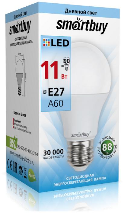 Лампочка SmartBuy SBL-A60-11-40K-E27-A, Дневной свет 11 Вт, Светодиодная