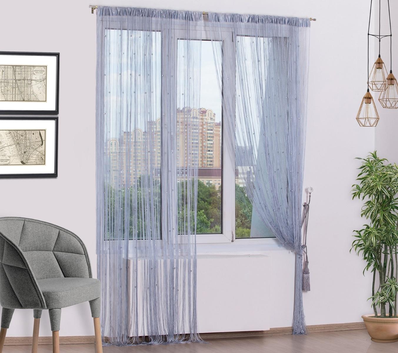 Занавеска нитяная ШТОРЫ стеклярус 290х300см, светло-серый