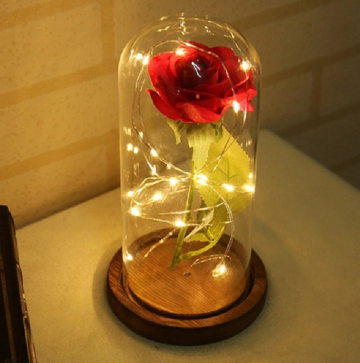 viso-beauty вечная роза в стеклянной колбе с подсветкой 20см, красная