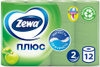 Туалетная бумага Zewa Плюс Яблоко, 2 слоя, 12 рулонов - изображение