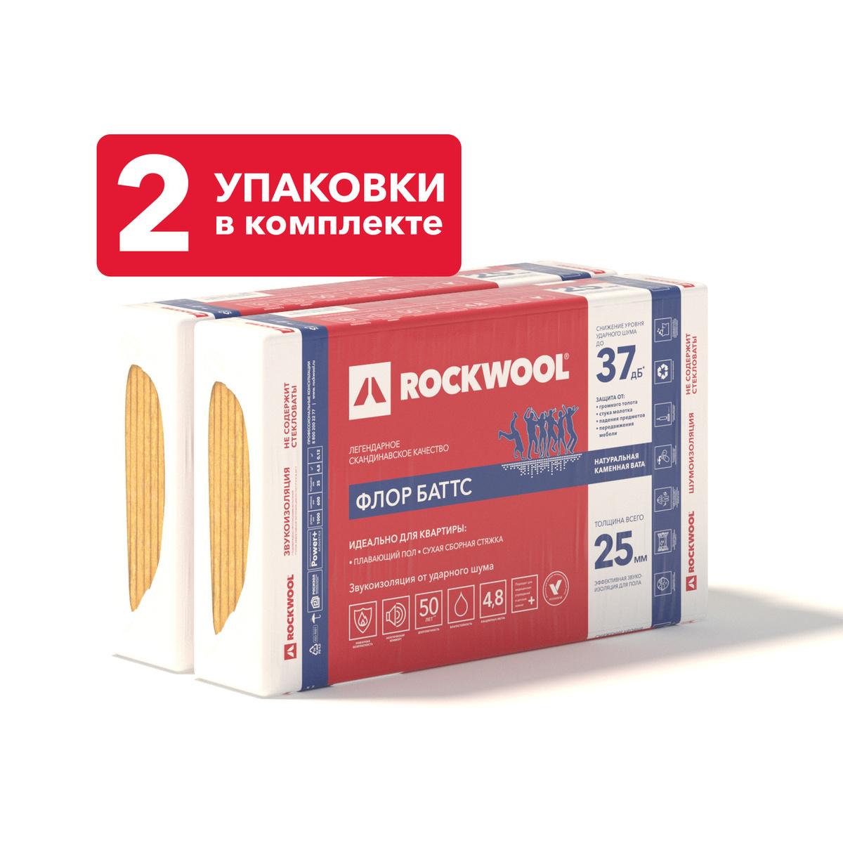 Звукоизоляция для пола из каменной ваты ROCKWOOL Флор Баттс 1000х600х25 (16 плит в комплекте, 9.6 кв.м.) #1