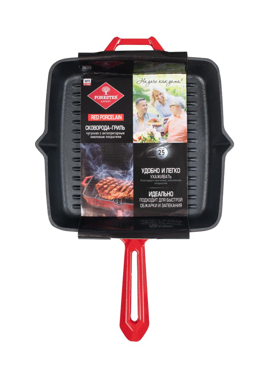 Сковорода-гриль Forester чугунная для стейков из мяса, птицы, рыбы Red Line CI-04R, 28 см  #1