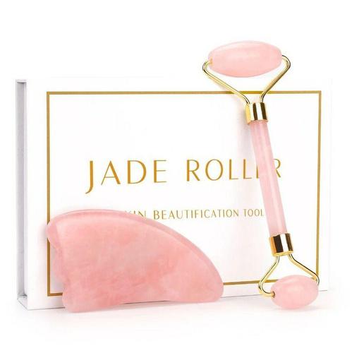 роллер массажер для лица из розового кварца и скребок