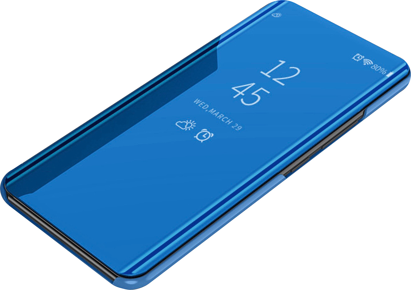 Чехол-книжка MyPads для Huawei Honor 8A/Huawei Y6 (2019)/ Honor 8A Pro/ Y6 Prime 2019 умный активный с функцией включения и блокировки экрана полупрозрачный с зеркальной поверхностью синий