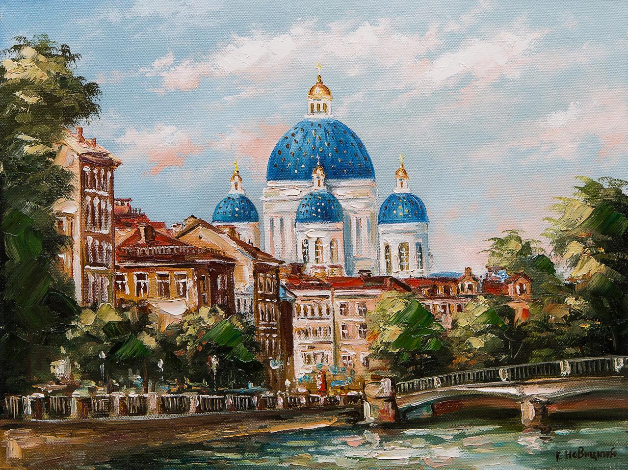 Картина маслом Вид на Троицкий собор Новицкий картина маслом владимирский собор боем