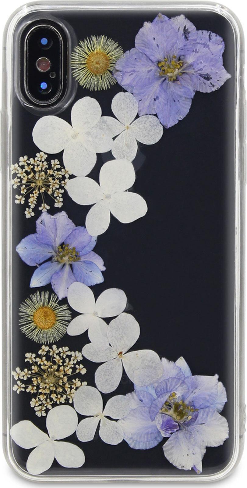 Чехол-накладка DYP Flower Case для Apple iPhone X/XS, прозрачный с цветами flower print card case