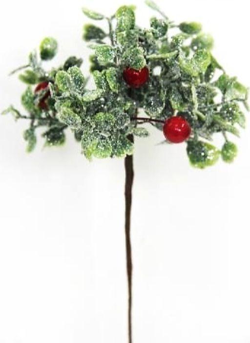Ветка декоративная новогодняя, DN-50919, зеленый, высота 15 см