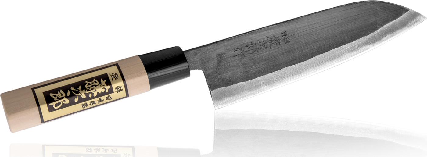 """Кухонный Нож Сантоку """"Всемогущий"""" TOJIRO Japanese (F-698), длина лезвия 165 мм, сталь""""Shirogami"""", 3 слоя, рукоять дерево, заточка #6000"""