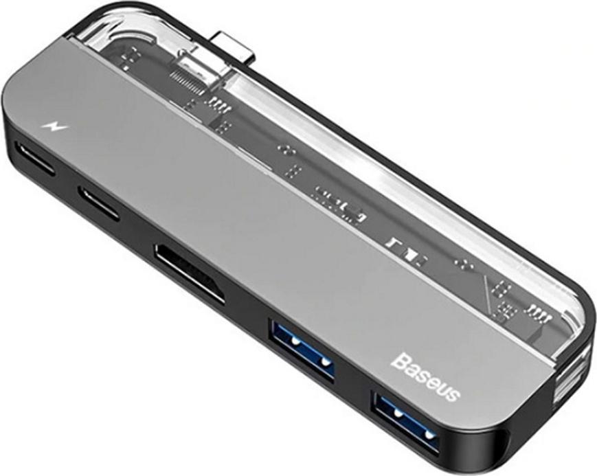 Хаб Baseus Transparent Series Type-C Multifunctional HUB Adapter (Type-C to Type-C*2+USB3.0*2+4K HD*1) Deep gray