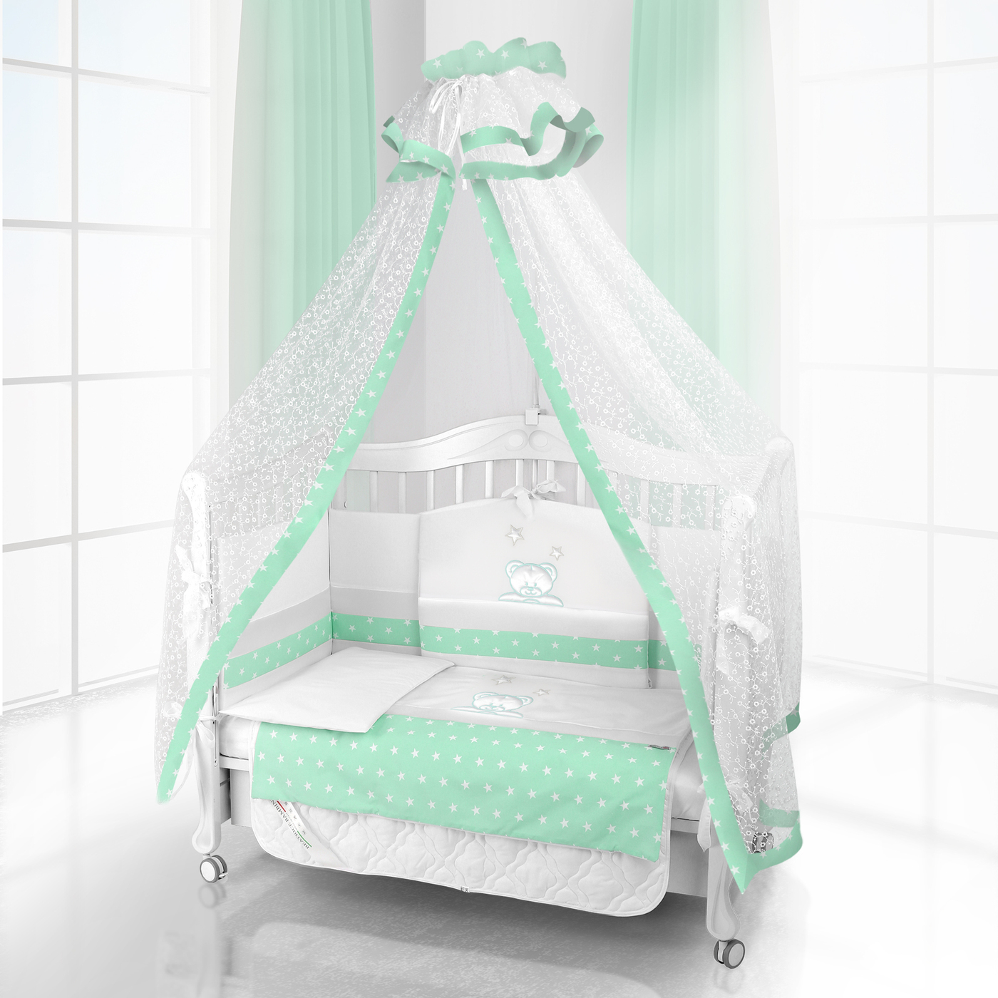Комплект постельного белья Beatrice Bambini Unico Capolino (120х60) - bianco& verde
