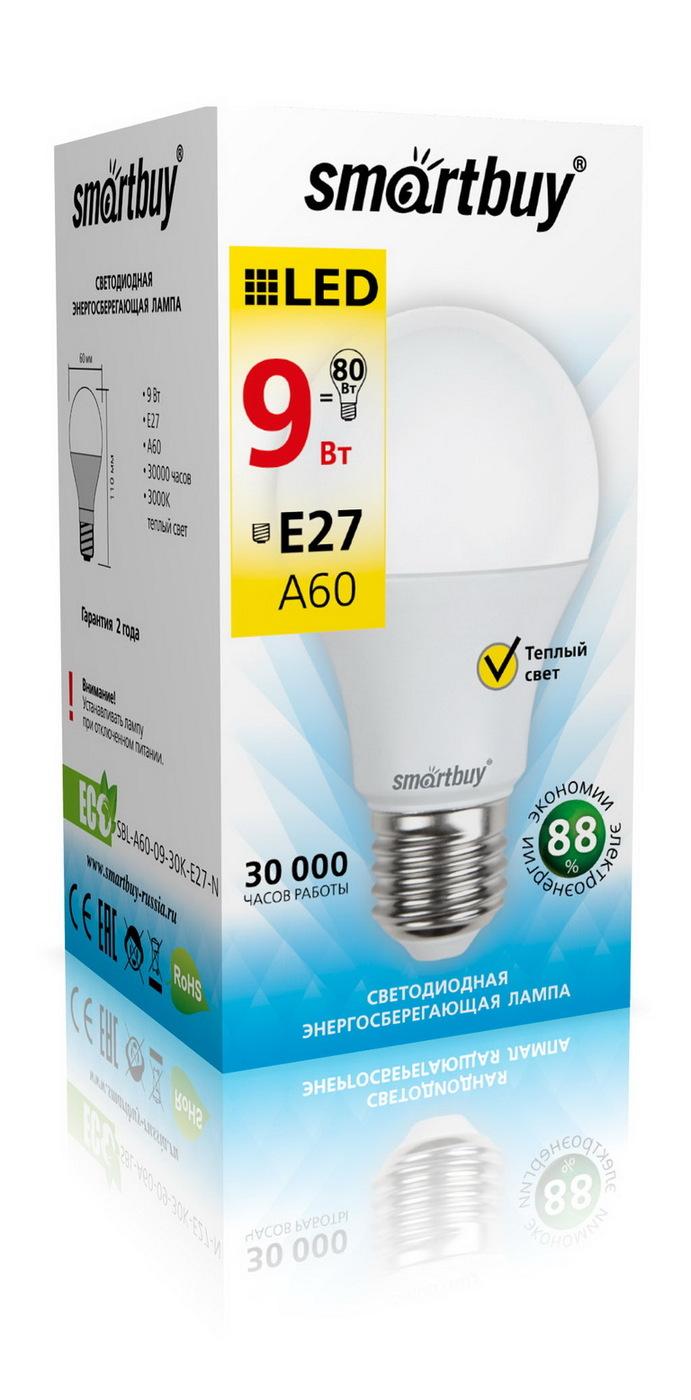 Лампочка SmartBuy SBL-A60-09-30K-E27-N, Теплый свет 9 Вт, Светодиодная